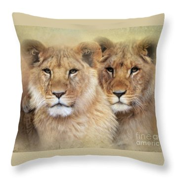 Throw Pillow featuring the digital art Little Lions by Trudi Simmonds