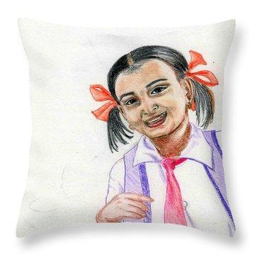 Little Manju Throw Pillow by Asha Sudhaker Shenoy