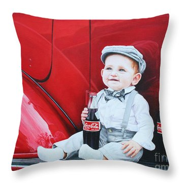 Throw Pillow featuring the painting Little Mason by Mike Ivey