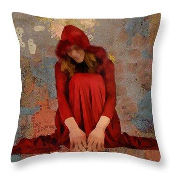 Little Mel Riding Hood Throw Pillow by Trish Tritz