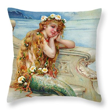 Little Mermaid Throw Pillow by E S Hardy