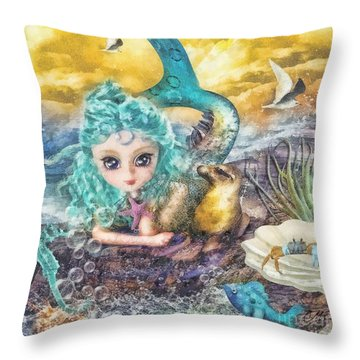 Little Mermaid Throw Pillow by Mo T
