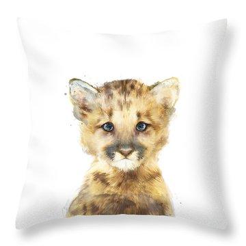 Little Mountain Lion Throw Pillow by Amy Hamilton