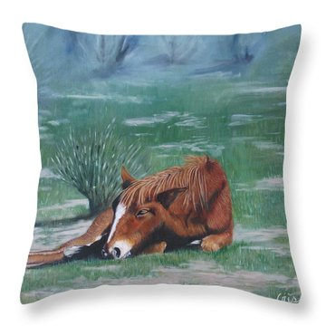 Little Nap Throw Pillow by Jean Yves Crispo