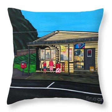 Little Oneroa Store Throw Pillow by Sandra Marie Adams