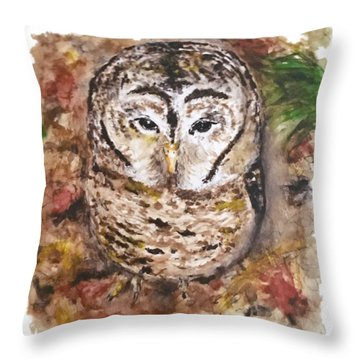 Throw Pillow featuring the painting Little Owl by Monique Faella