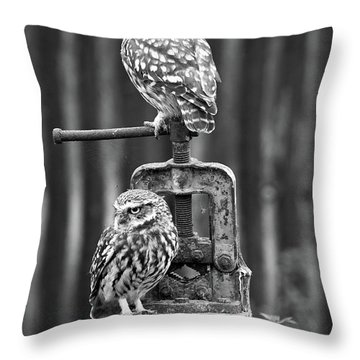 Little Owls Black And White Throw Pillow