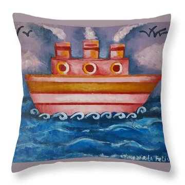 Little Pink Ship Throw Pillow by Rita Fetisov