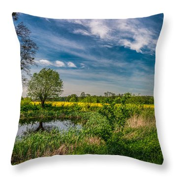 Little Pond Near A Rapeseed Field Throw Pillow
