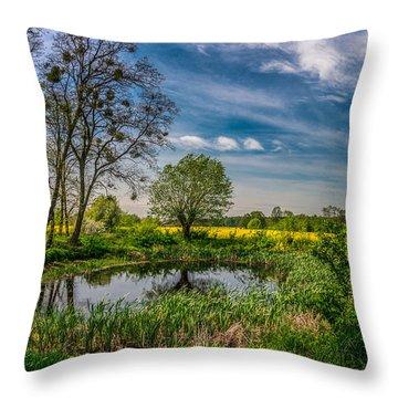 Little Pond Near A Rapeseed Field Throw Pillow