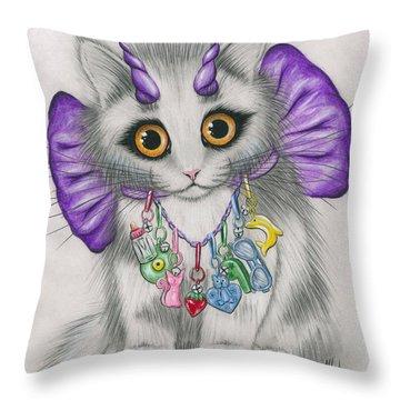 Little Purple Horns - 1980s Cute Devil Kitten Throw Pillow
