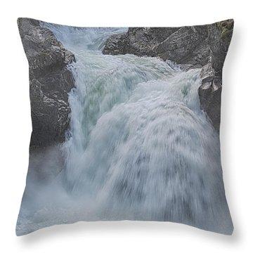 Little Qualicum Upper Falls Throw Pillow by Randy Hall