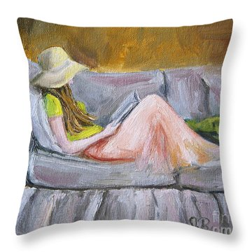 Throw Pillow featuring the painting Little Reader by Jennifer Beaudet