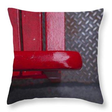 Little Red Bench Throw Pillow by Henri Irizarri