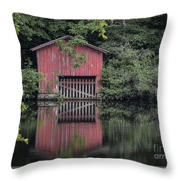 Little Red Boathouse Throw Pillow