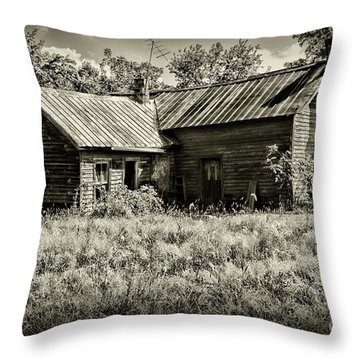 Little Red Farmhouse In Black And White Throw Pillow by Paul Ward