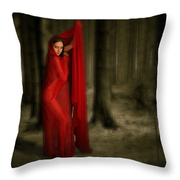Little Red In Woods Throw Pillow by Thomas Churchwell