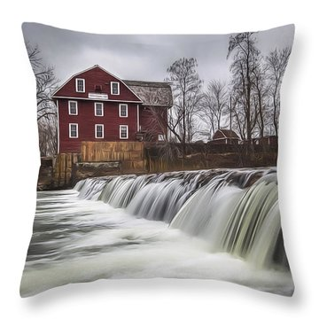 Little Red Mill Throw Pillow