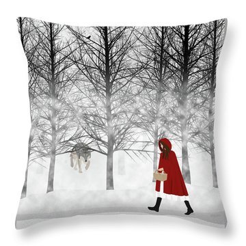 Throw Pillow featuring the digital art Little Red by Nancy Levan