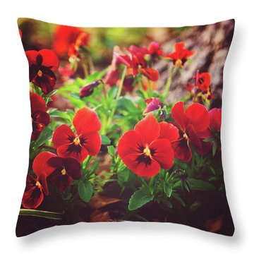 Throw Pillow featuring the photograph Little Red Pansies by Toni Hopper