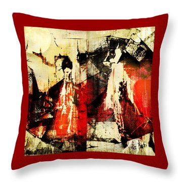Little Red Riding Hood And The Big Bad Wolf Under A Yellow Moon Throw Pillow