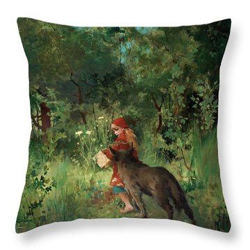 Little Red Riding Hood Throw Pillow by Mountain Dreams