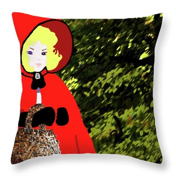 Throw Pillow featuring the painting Little Red Riding Hood In The Forest by Marian Cates