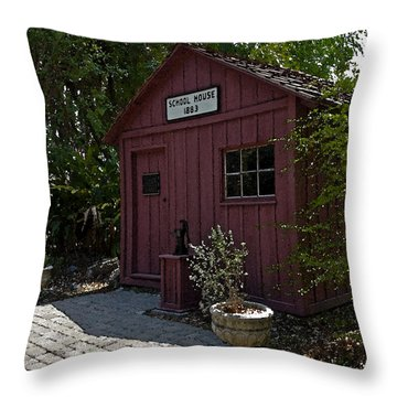 Little Red Schoolhouse Four Throw Pillow by Allan  Hughes