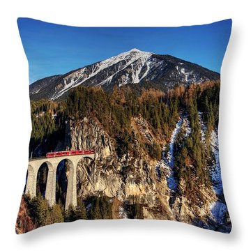 Throw Pillow featuring the photograph Little Red Train In The Swiss Alps by Peter Thoeny