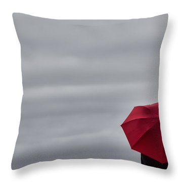 Little Red Umbrella In A Big Universe Throw Pillow by Don Schwartz