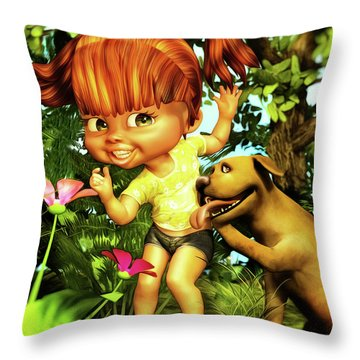 Little Redhead And Her Dog Throw Pillow