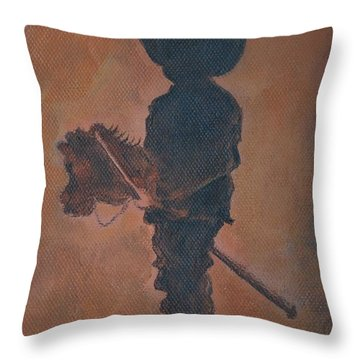 Little Rider Throw Pillow by Leslie Allen