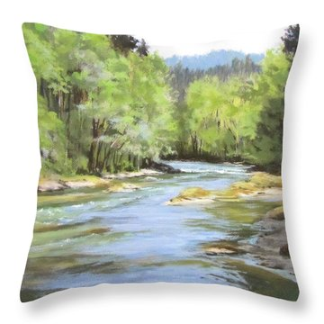 Little River Morning Throw Pillow