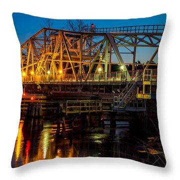 Little River Swing Bridge Throw Pillow