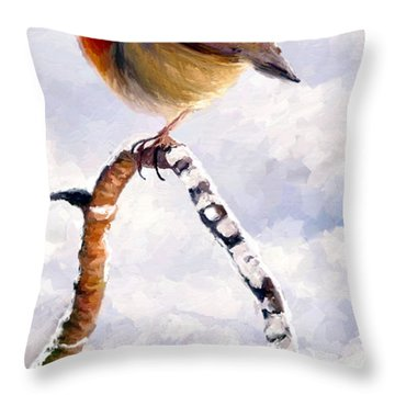 Throw Pillow featuring the painting Little Robin Redbreast by James Shepherd