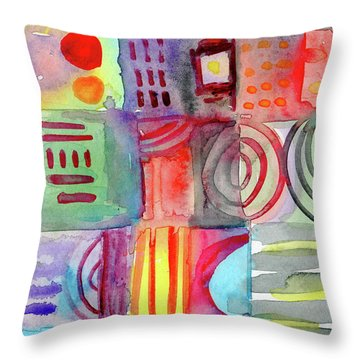 Little Rooms Patchwork 20- Art By Linda Woods Throw Pillow