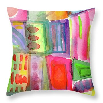 Little Rooms Patchwork 21- Art By Linda Woods Throw Pillow