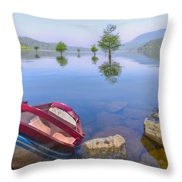 Little Rowboat Throw Pillow by Debra and Dave Vanderlaan