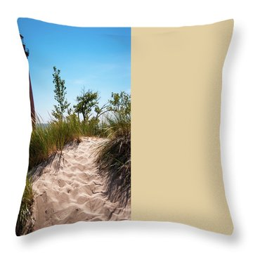 Throw Pillow featuring the photograph Little Sable Light Station - Film Scan by Larry Carr