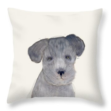 Throw Pillow featuring the painting Little Schnauzer by Bri B