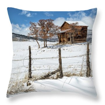 Little Shack In Winter Throw Pillow