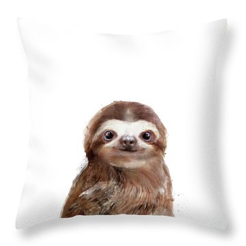 Little Sloth Throw Pillow by Amy Hamilton