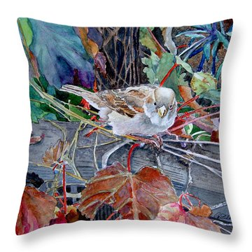 Throw Pillow featuring the painting Little Sparrow by Gail Chandler