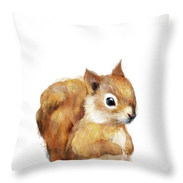Little Squirrel Throw Pillow by Amy Hamilton