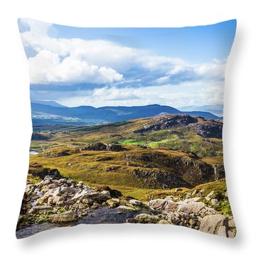 Throw Pillow featuring the photograph Little Stream Running Down The Macgillycuddy's Reeks by Semmick Photo