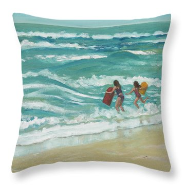 Little Surfers Throw Pillow