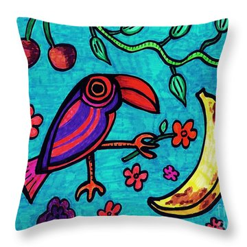 Little Toucan Throw Pillow by Sarah Loft
