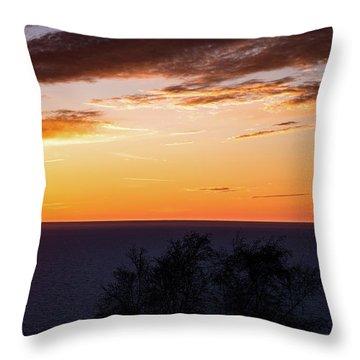 Little Traverse Bay Sunset Throw Pillow by Onyonet  Photo Studios