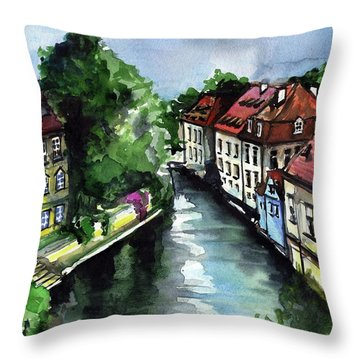 Throw Pillow featuring the painting Little Venice In Prague Certovka Canal by Dora Hathazi Mendes
