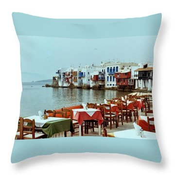 Little Venice On Mykonos Throw Pillow